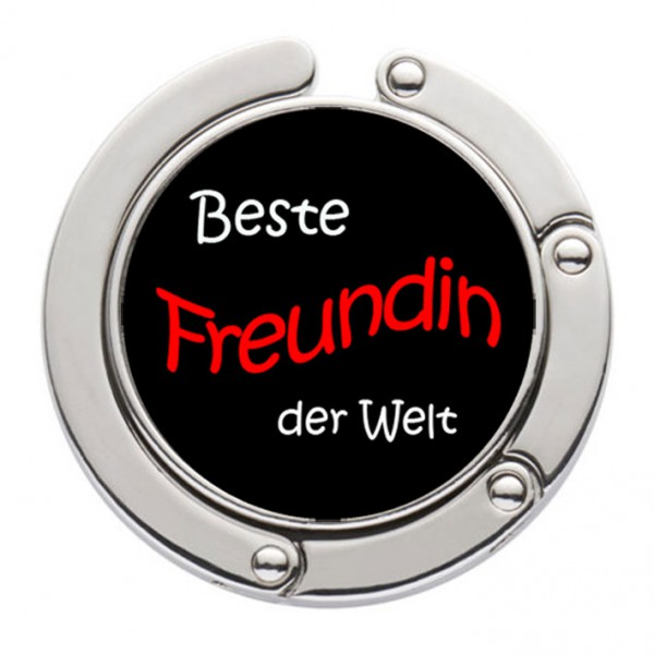"""""""Beste Freundin der Welt"""" Taschenhalter mit magnet. Gliederhalterung - Taschenhaken & Handtaschenhalter"""