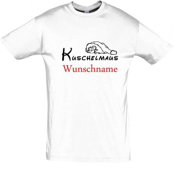 """""""Kuschelmaus"""" mit Wunschname T-Shirt, Schlaf-Shirt (Foliendruck)"""
