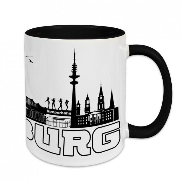 Städtetasse I love Hamburg weiß Innenfarbe und Henkel schwarz