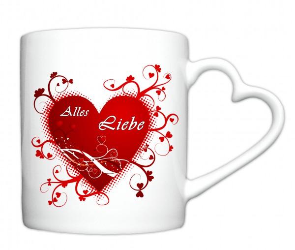 """""""Alles Liebe zum Valentinstag 1"""", Tasse, Keramiktasse mit Herzhenkel"""