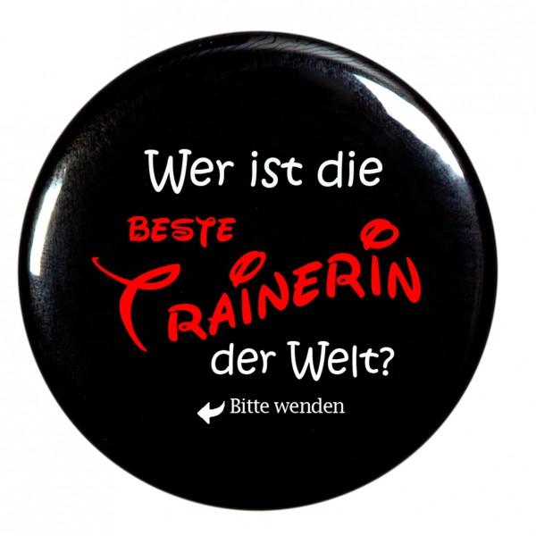 beste Trainerin Taschenspiegel, Spiegel, Button, rund, 56mm Durchmesser