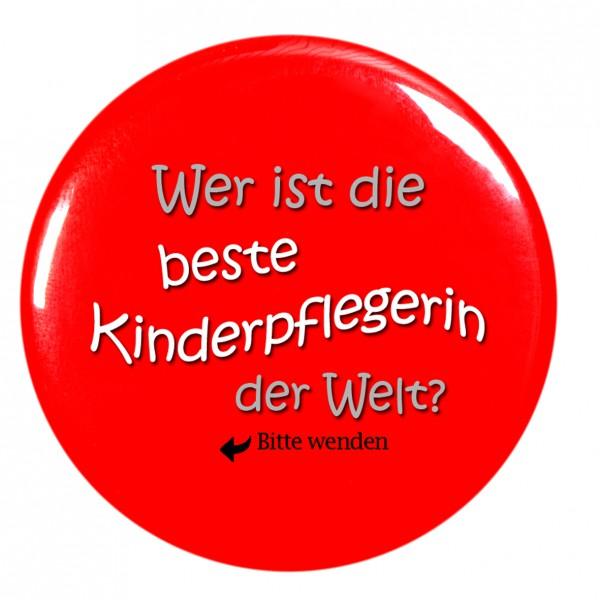"""""""Wer ist die beste Kinderpflegerin der Welt"""" Taschenspiegel, Spiegel, Button, rot, rund, 56mm Durchmesser"""